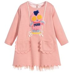 https://www.childrensalon.com/checkout/cart/#a_aid=51f456f914eb5 Made in beautifully soft, stretchy and comfortable viscose blend jersey, this fun pink dress by Italian designer Fendi has a swinging Piro-Chan appliqué on the front and scalloped trims. Fully lined for comfort, it has tulle frills for extra volume.