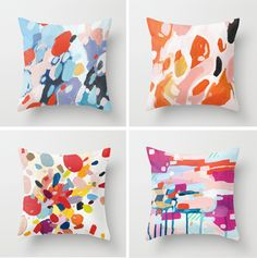 Brilliant colors and a cool unexpected item in the room. Add some art with these original paintings by Emily Rickard that she has made available as pillows. Down and Out Chic: Art + Decor