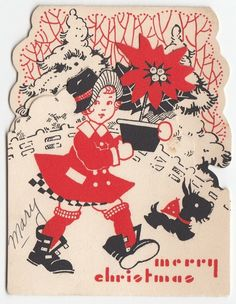 Vintage Greeting Card Christmas Girl Child Die-Cut Art Deco Scotty Dog Terrier