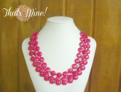 Hot Pink Fuchsia triple stranded necklace by ThatsmineBoutique, $40.00