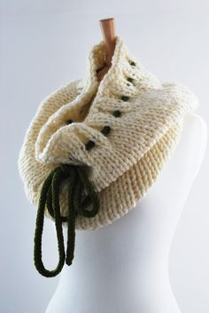 knitted cowl chunky wrap circular scarf white green by annerstreet, $38.11