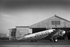 VH-AGX Lockheed L414-56 Hudson III plane, Bankstown, c 1950. William Henry Garvin-Smith photo.