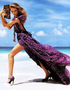 Plum dress + python bag + statement necklace + beach - stunning!