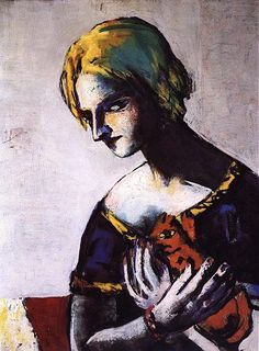 Girl with Yellow Cat ~ by Max Beckmann (German: 1884 - 1950) ~Repinned Via Leisa Shannon Corbett Art Studio