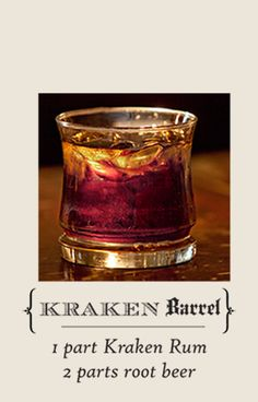 "Learn how to make the ""Kraken Barrel"" with this recipe: 1 part Kraken Rum, 2 parts root beer Rum Recipes, Coctails Recipes, Alcohol Recipes, Grilling Recipes, Booze Drink, Fun Drinks, Yummy Drinks, Mixed Drinks, Beverages"