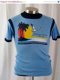 ON SALE Vintage 1970s Daytona Beach surf T shirt