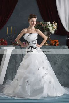 Wholesale Organza A line Strapless Flowers Floor length Wedding Dress Custom made Plus size  WD68275