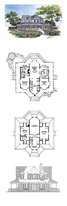 Victorian House Plan 99286   Total Living Area: 1895 sq. ft., 3 bedrooms and 2.5 bathrooms. #victorianhome