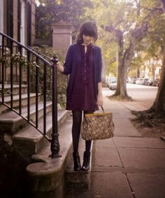 love this look for fall.  dark tights, booties, dress and cardigan.  pretty pretty
