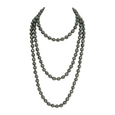 "CHANEL Vintage 66"" Dark Grey Faux Pearl Single Strand Necklace 