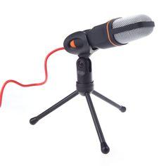 Cheap Excelente con cable condensador Sound micrófono con soporte Clip para el chat cantando Karaoke PC portátil Skype de grabación negro, Compro Calidad Micrófonos directamente de los surtidores de China:                                                 Excelente cable de micrófono micrófono de condensador de sonido co