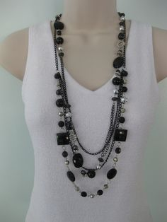 Long Chunky Black, Beaded Necklace, Multi Strand Black and Silver.