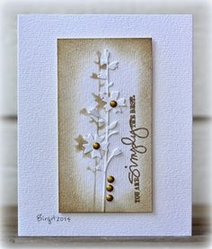 "Rapport från ett skrivbord. Technique Tuesday sentiment with Memory Box ""Hollyhock Stem"" on Birgit's card."