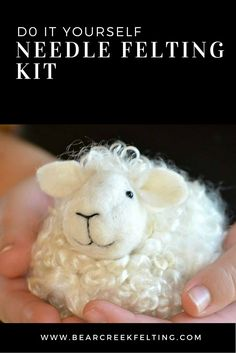 Sheep needle felting kit designed by Teresa Perleberg, everything you need and perfect for beginners