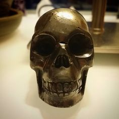 I purposefully left this guy out of our market yesterday in case he got sold lol.  I haven't decided if I want to sell it yet or not as I just got it and I really like it.  This is an Iron #pyrite skull and his teeth are kinda knarly but I like that.  What about you?  #skulls #skullart #crystalskull #crystals #gemstones #art #carving #unique #metaphysical #reiki #chakra #crystallove #crystalhealing #healingcrystals