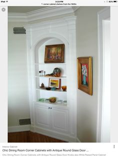 Built-in corner hutch in a dining room. This version features ...