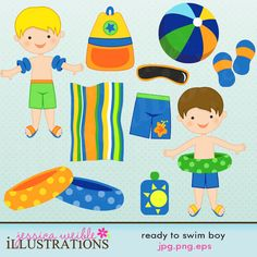He's ready to go swimming! This cute summertime graphic set comes with 11 graphics including: 2 little boys in their swimsuits and floaties, a beach ball, a beach towel, a pair of flipflops, a pair of sunglasses, a swimsuit, 2 ring floaties, a beach bag and some sunblock.    Graphics are made in High Quality 300 dpi and come in JPG, PNG & EPS format.