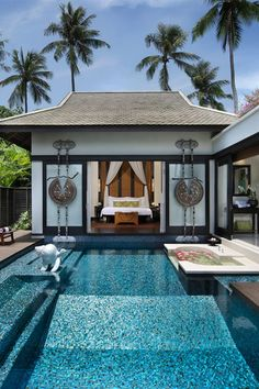 On the grounds of a former coconut plantation on the Thai island's still-secluded northwest coast, the 83 over-the-top villas at Anantara Phuket are draped in bougainvillea and have pools, daybeds, rain showers and — thanks to wooden fences — an intensely private vibe. All of the resort's 83 villas have private pools. #Jetsetter