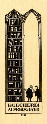 Ex libris by Fritz Hellmut Ehmcke (Ger)(1878-1965) for Alfred Geyer, 1900c.