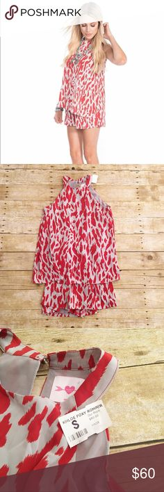 Light gray/red Khloe Foxy Romper, NWT, small NWT Khloe Foxy Romper in a size small. Very light gray color with an almost redish orange color print. Total length- approximately 31 inches, bust- approximately 15.5 inches, inseam- approximately 2 inches. Khloe Other