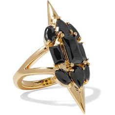 Noir Jewelry Sharp Edges gold-plated crystal ring
