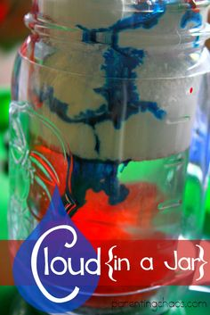 Rain Cloud in a Jar: make a model of a rain cloud using shaving cream, water, and food coloring! Your kiddos will LOVE this hands on science activity! Weather Activities, Science Activities For Kids, Cool Science Experiments, Preschool Science, Kid Science, Earth Science, Nanny Activities, Weather Science, Science Lessons