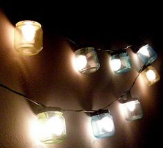 Baby food jars become a string of lights! Colored lights!