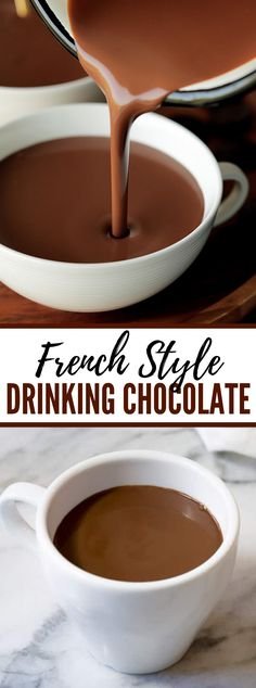 Luxurious French Hot Chocolate Recipe (Drinking Chocolate) This basic French Hot Chocolate Recipe, AKA Drinking Chocolate, is a Parisian most loved and an unquestionable requirement make for these s… French Hot Chocolate Recipe, Best Hot Chocolate Recipes, Crockpot Hot Chocolate, Frozen Hot Chocolate, Cocoa Recipes, Hot Chocolate Cookies, Homemade Hot Chocolate, Hot Chocolate Mix, Gourmet Hot Chocolate Recipe