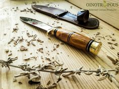 Dagger Two Edged- Dikopo Cretan Knife, Chef Gift Greek Gifts, Chef Knives, Handmade Knives, Kitchen Knives, Leather Handle, Gifts For Him, Carving, Wood, Woodwind Instrument