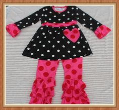 yiwu yawoo garments factory outfits kids wholesale clothing/black with white polka dots,hotpink pants/6-12m,XS 12-18m,S 2T,M 3T,L 4T,XL 5T,XXL 6-7T ,3XL 7-8T/0-12T