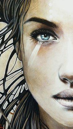49 Ideas For Fantasy Art Women Face Drawings Art Photography Portrait, Portrait Art, Female Face Drawing, Fantasy Art Women, Abstract Faces, Fantasy Kunst, Watercolor Portraits, Face Art, Woman Face