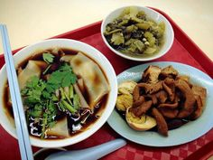 Kway Chap - very thin squarish cut rice noodles in chinese spice soup, with a side serving of braised pig offals, bean curd, egg & meat.