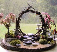 Miniature fairy Twig Moon Gate peace Zen Garden with handmade accessories . - Miniature fairy Twig Moon Gate peace Zen Garden with handmade accessories USA UU. Fairy Garden Houses, Diy Garden, Garden Crafts, Garden Projects, Garden Art, Fairy Gardening, Diy Fairy House, Gardening Tips, Gnome Garden