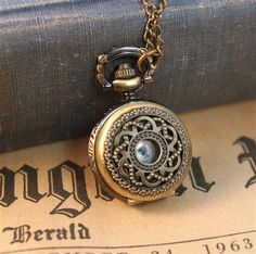 Antique Bronze Vintage Style Filigree Style Pocket Watch with Chain- (BC246)
