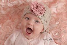 "Beanie Hat Crocheted ""Emma Grace""  Linen, Country Rose Baby Newborn Trendy Classy Flower Trim on Etsy, $20.00 CAD"