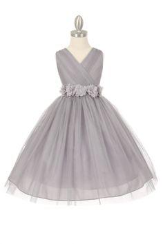 Silver/Silver+Tulle+V-Neck+with+Removable+Floral+Sash+Flower+Girl+Dress+CC-1220-SV+on+www.GirlsDressLine.Com