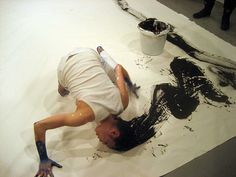Lilibeth Cuenca Rasmussen / head on action painting.and we just thought hand painting was talented. Action Painting, Sweet Station, Art Asiatique, Japanese Calligraphy, Hair Painting, Woman Painting, Painting Art, Art Studios, Artist At Work
