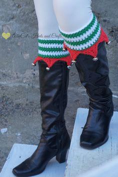 Elf Boot Cuffs crochet pattern by AllieCat's Hats and Crafts #AllieCatsHatsandCrafts #crochet #crochetpattern #Christmas #elf #bootcuffs