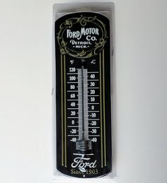 Classic 1903 Vintage Ford glass thermometer metal tin sign gas