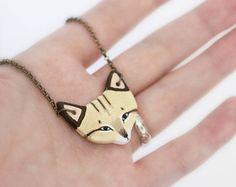 Sand Cat Necklace- earthenware ceramic cat totem necklace