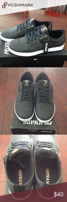 Supra Stacks Men's Shoes Black and gold shoes. In excellent condition. Hardly worn. No stains or tears. Supra Shoes