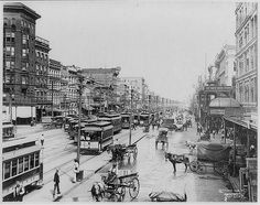 1902 view of Canal Street looking away from the river. The Morris building on the extreme left still stands at the corner of Canal and Camp.