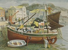"Lyon's commissioned artists to brighten tea shops in post-war Britain. ""Cornish Pilchard Boat"" by David Gentleman Landscape Drawings, Landscape Paintings, David Gentleman, Costa, Collage Illustration, Book Illustrations, Public Art, Beautiful Paintings, Fine Art"