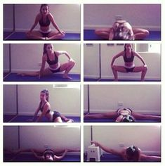 Help with middle splits. I can do front splits but not middle Cheer Stretches, Gymnastics Stretches, Ballet Stretches, Gymnastics Workout, Cheerleading Flexibility Stretches, Fitness Workouts, Cheer Workouts, Fitness Gym, Pole Fitness