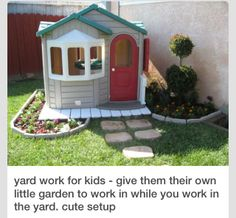 this is such a great idea for kids in the backyard, make there own garden let them plant there own flower's, make a walk way. Super cute, I would add a little more like a play structure as well & own sand box.