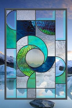 Stained Glass Window Panel Winter Solace Abstract Panel