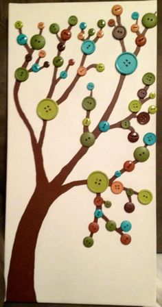 "My ""Cute as a Button"" tree on canvas :)"