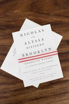 Simple and modern industrial wedding invitation for a fantastic shindig at the Brooklyn Winery. Photography: Bia Sampaio.