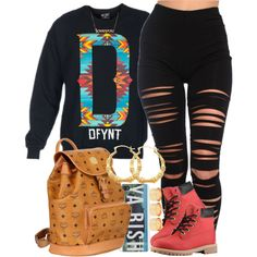 Ya biiiiish, created by livelifefreelyy on Polyvore   I'm in love with this outfit  those jeans are dope af
