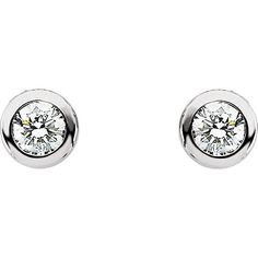 Diamond Solitaire Earrings 14KT White Gold by RighteousRecycling
